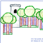 An early set design for Into the Woods Jr.